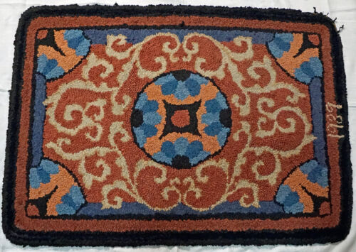 Nice Old Home Made Throw Rug Hand done Signed 1939 Nice Colors and Pattern