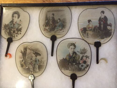 5 ANTIQUE JAPANESE FIXED FANS WITH PHOTOGRAPHIC IMAGES, EXCELLENT CONDITION