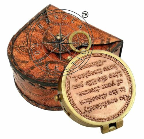 Thoreau's Go Confidently Quote Engraved Brass Compass With Stamped Leather Case
