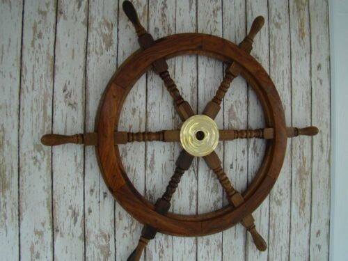 """36"""" Large Boat Ship Wooden Steering Wheel Brass Center Nautical Wall Decor Gift"""
