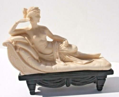 """Art Deco Ivory Color Carved Roman Lady on Chaise Lounge Figure_7"""" Long_6"""" Tall"""