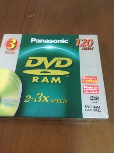 Panasonic DVD-RAM Disc 3 Pack 4.7Gb 120 mins, New And Sealed Made in Japan