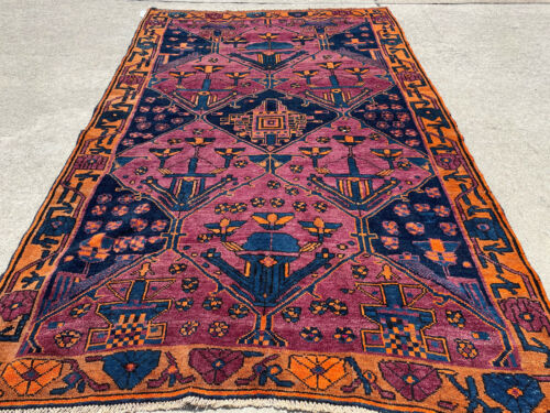 5x8 VINTAGE WOOL RUG HAND-KNOTTED oriental handmade purple blue gold big antique