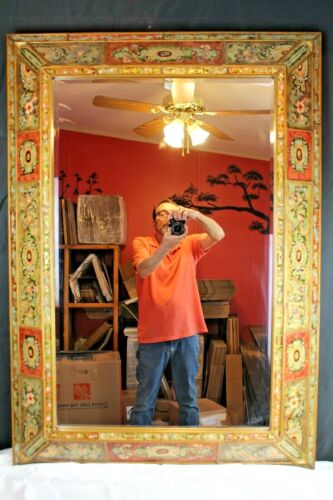 Vintage Wall/Hall Mirror Mediterranean Beveled Glass Wood Constructed White Labe