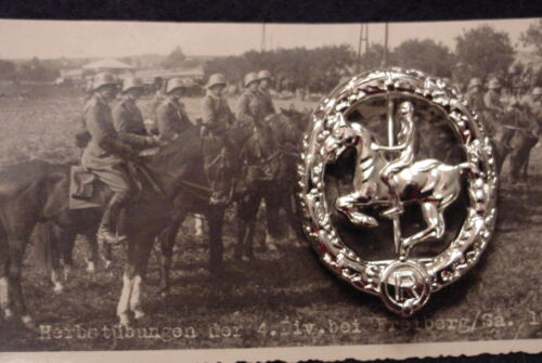 GERMAN WWII WEHRMACHT CAVALRY- EQUESTRIAN / HORSEMANSHIP BADGE IN SILVER - REPROReproductions - 156372