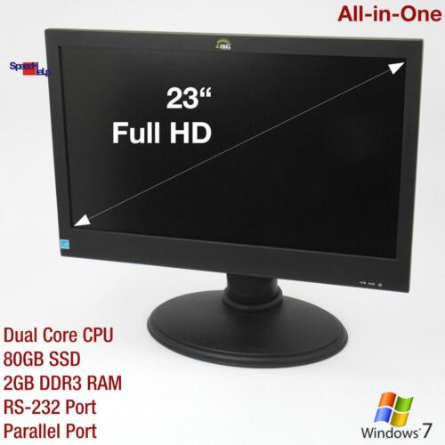 """23 """" Full HD All IN One Aio Computer PC RS-232 Parallel Port WLAN 80GB SSD 4GB"""