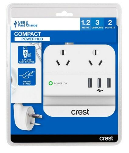 Crest 2 Socket (double adapter) - 3 USB Desktop Power Hub with Phone Stand-White