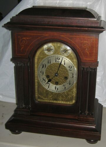 ANTIQUE JUNGHANS FANCY 8 DAY WESTMINSTER CHIME BRACKET CLOCK #B09 AS-IS WORKING
