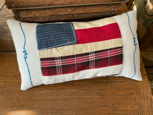 Primitive Stitchery   Red White and Blue  Flag and old Linen Ornie Shelf Sitter