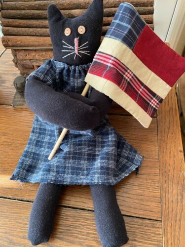 Primitive  Kitty Cat Doll Mandy  Loves Red White and Blue  Patriotic with Flag