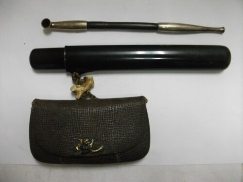 Sterling Silver Smoking Pipe.Pipe & Leather shredded tobacco case.