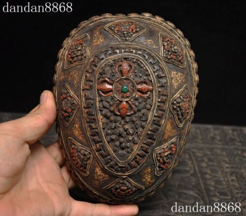 Antique Rare Tibetan buddhism silver skull head Statue tantrick Kapala Bowl Cup
