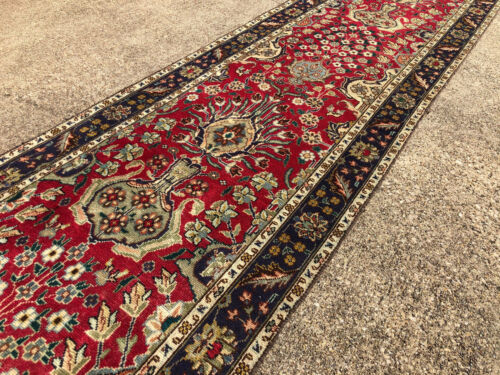 2x13 RED VINTAGE RUNNER RUG WOOL HAND-KNOTTED antique handmade 2x12 2x14 3x13 ft