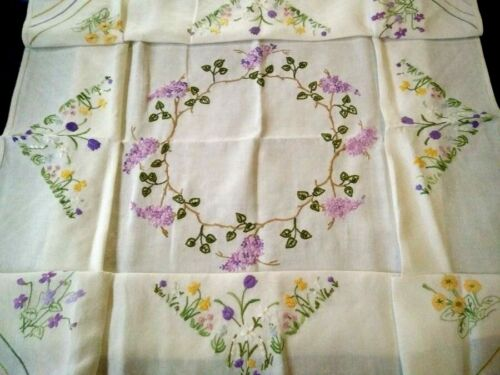 "Glorious Lilac Circle & Spring Flowers   Raised Hand Emb Tablecloth 50"" X 51"