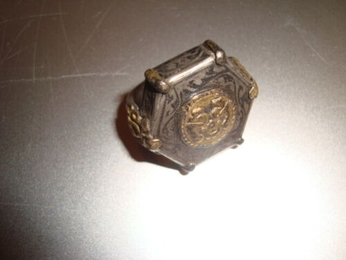 HUGE antique gold & silver Yomud Turkoman Ring,  28 grams, size 7.5 Greco-Roman