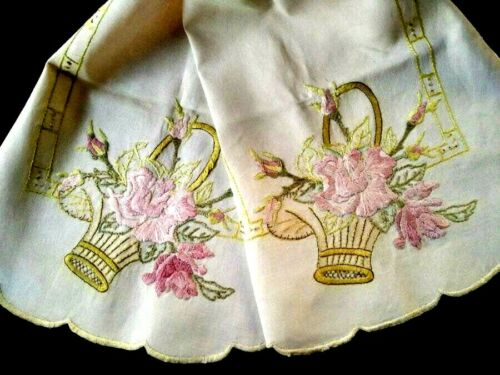 Pink Rose Basket Antique 'Art's & Craft'c1900 Hand Embroidered Runner/Scarf