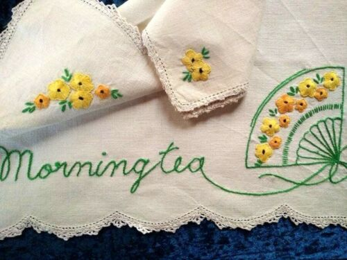 Vintage 'Named' Linen -Words 'Morning Tea'  Hand Embroidered Traymat & Serviette