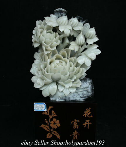 """14"""" Chinese Natural Xiu Jade Carved Fengshui Peony Flower Wealth Statue"""
