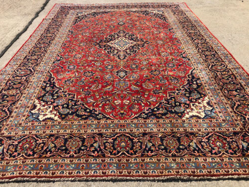 8x11 RED WOOL VINTAGE RUG HAND-KNOTTED antique oriental handmade navy blue 8x10
