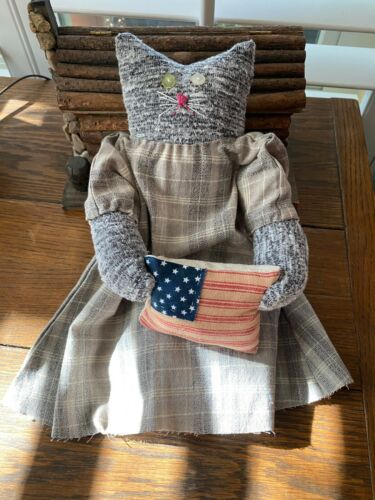 Primitive  Kitty Cat Doll Molly  Loves America Patriotic with Flag
