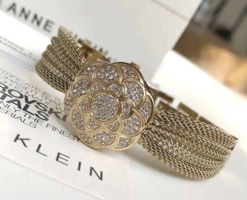 Anne Klein Watch * 1046CHCV Crystal Gold Locket Mesh Bangle for Women COD PayPal <br/> NATIONWIDE COD, Free Ship, Meet Up, PayPal Accepted