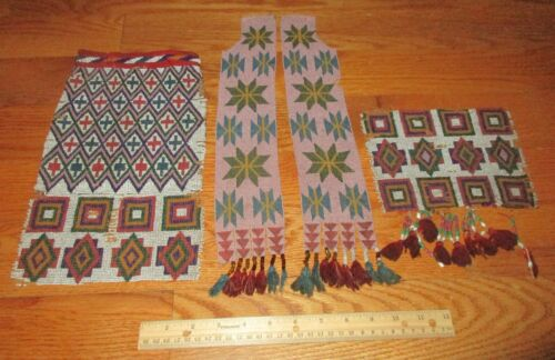 Antique Early Native American Plains Indians Beadwork Bag & Fragment w/ 2 Sashes
