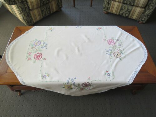 """Cream Embroidered Table Cloth """"Pansies"""" with crochet lace edge, 115cm square"""