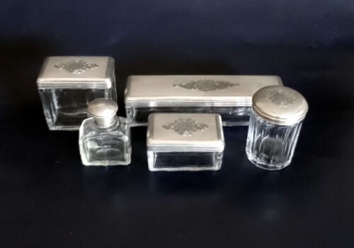 French Antique Napoleon III 5 Piece Sterling Silver & Crystal Vanity Set