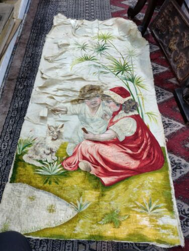 antrique hand painted victorian tapestry ladies with cat