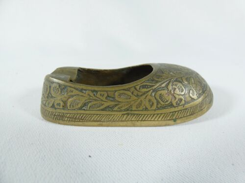 Antique Vintage Solid Brass Indian Shoe Boot Ashtray Ash Tray Made in India B.S