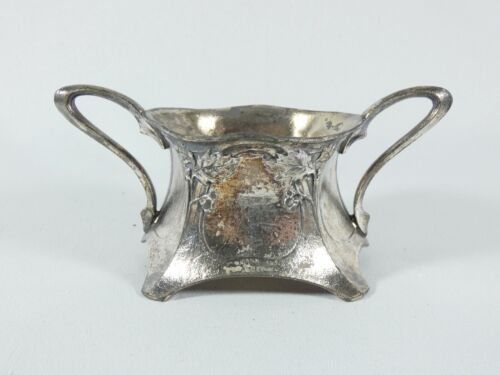 Antique Art Nouveau 1905 WMF Silver Plated Sugar Bowl Holly Leaves & Berries
