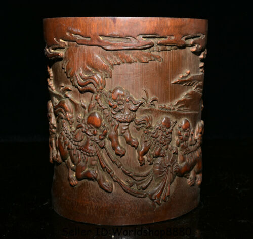 """6.8"""" Antique Chinese Bamboo Root Carved Fu Dog Lion Ball Brush Pot Pencil Vase"""