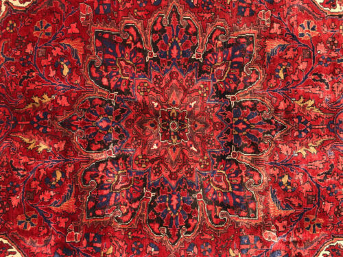 8x11 VINTAGE WOOL RUG HAND-KNOTTED ANTIQUE handmade oriental red rust mint 8x10