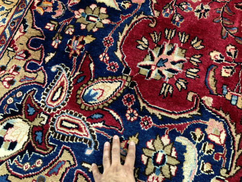 9x12 ANTIQUE WOOL RUG HAND-KNOTTED VINTAGE RED ORIENTAL handwoven handmade 10x13