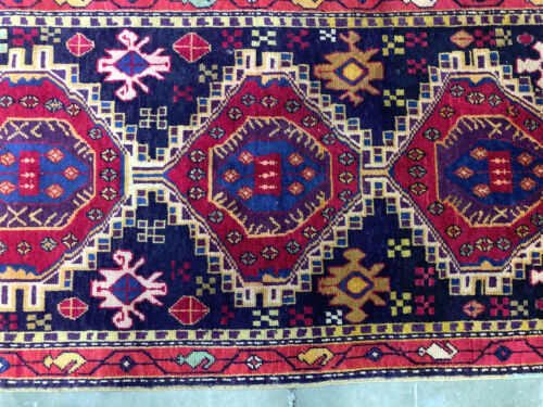 2x10 ANTIQUE RUNNER RUG WOOL HAND KNOTTED vintage handmade geometric tribal 3x10
