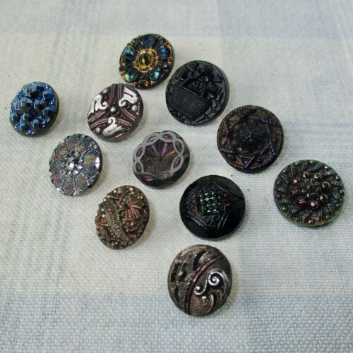 Assortment of 11 Antique Black Glass Buttons, Most w Iridescence