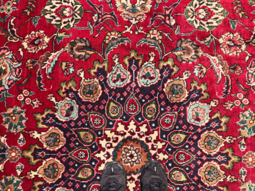 8x11 RED VINTAGE RUG HAND-KNOTTED WOOL antique oriental handmade blue 8x12 8x10