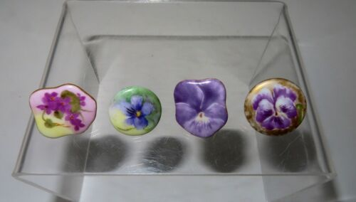 Antique Hand Painted Buttons, Selling as a Lot, Celebrating Purple Flowers