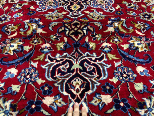 10x14 RED ORIENTAL WOOL RUG VINTAGE HAND-KNOTTED ANTIQUE handmade carpet 10x13