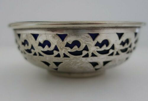 vintage SEARLE & Co silver plated pierced side BOWL with cobalt blue glass liner