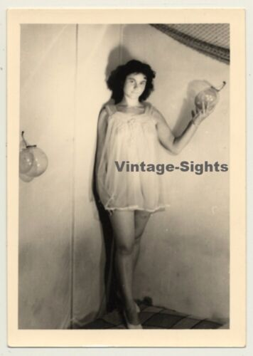 Sweet Woman In Short Transparent Nightgown (Vintage Photo ~1940s/1950s)