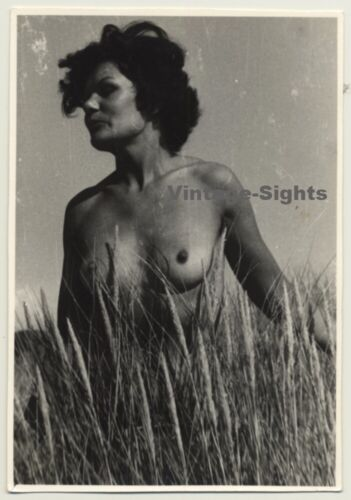 Mature Nude Woman In Wheat Field / Nudism (Vintage Photo B/W ~1960s/1970s)