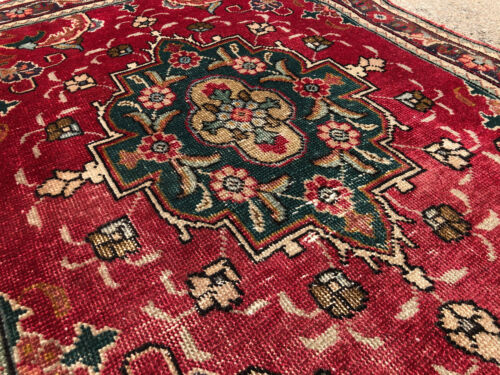 3x13 RED ANTIQUE RUNNER RUG WOOL HAND-KNOTTED worn VINTAGE handmade old 3x14 ft