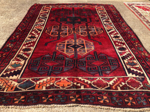 5x7 ANTIQUE RUG HAND KNOTTED geometric wool oriental vintage handmade 5x6 4x6 ft