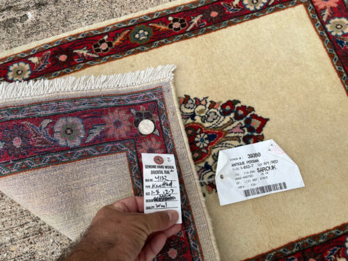 2x3 VINTAGE RUG WOOL HAND-KNOTTED handmade oriental ivory beige fine small 2x2