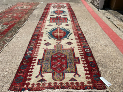 3x12 ANTIQUE RUNNER RUG WOOL HAND-KNOTTED vintage handmade geometric 3x11 2x12