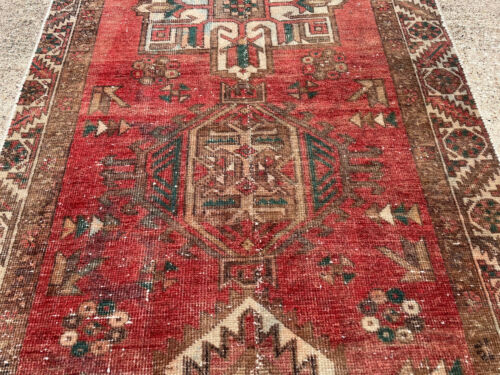 3x11 RED ANTIQUE RUNNER RUG WOOL HAND-KNOTTED vintage handmade geometric 3x10 ft