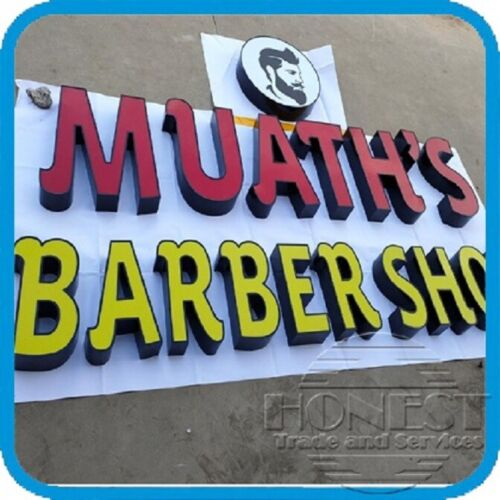 Customs channel letter barber shop sign with led and power supply.12in tall