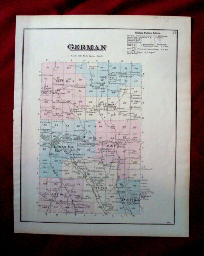Antique Map of German, New York dated 1875 Hand Colored Dated 1875