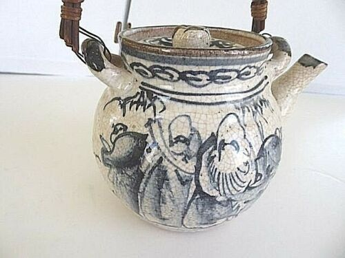 Rare early antique Japanese studio pottery clay glazed teapot, people scenery